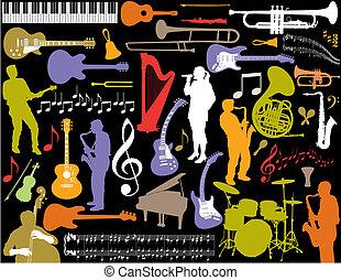 vektor, musik, elements.