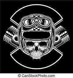 vektor, retro, zeichnung, totenschädel, tragen, hand, helm