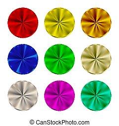vektor, runder , metallisch, abbildung, tasten, set., leer, button., stahl, gefärbt, schablone