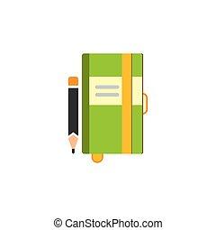 vektor, schreibende, bleistift, zeitschrift, notizbuch, illustration., papier