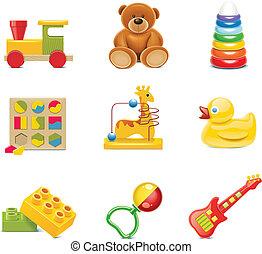 Vektor-Spielzeug-Ikonen. Babyspielzeug