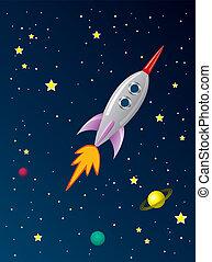 Vektor stylisiertes Retroraketenschiff im Weltraum