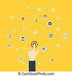 vektor, vernetzung, geschaeftswelt, medien, concept., communication., business., technik, anschluss, sozial, taste, illustration.