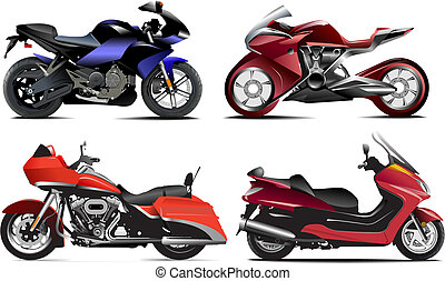 vektor, vier, modern, abbildung, motorcycle.