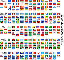 vektor, welt, satz, flaggen, land