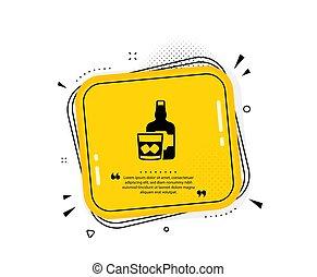 vektor, whiskey, eis, alkohol, schottisch, glas, zeichen., icon., würfel