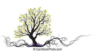 Vektorbaum mit Wurzeln und Blumen