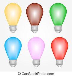 Vektorfarbene Glühbirnen eingestellt.