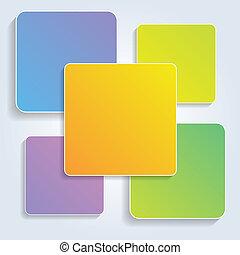 Vektorfarbene Quadrate für Infographien