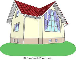 Vektorhaus mit Buntglas auf dem Rasen.