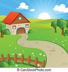 Vektorlandschaft mit Feldern und Hügeln