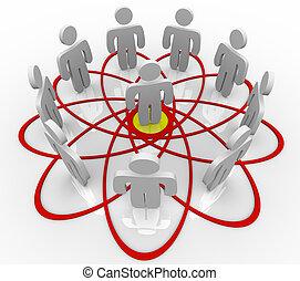 Venn Diagramm viele Menschen eine Person in der Mitte.