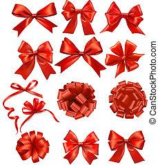 verbeugungen, bänder, satz, geschenk, vektor, rotes , groß