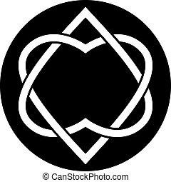 verbunden, herzen, vektor, zwei, symbol.