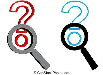 Vergrößerung der Glases Suche nach Antwort auf Fragezeichen