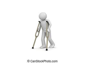 Verletzter Mann auf Krücken