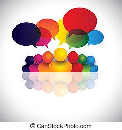 verlobung , büroleute, kommunikation, diskussionen, kinder, personal, &, medien, auch, angestellter, versammlung, kinder, wechselwirkung, konferenz, vertritt, grafik, reden., sprechende , vektor, sozial, oder
