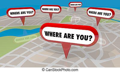 verloren, stellen, wohin, render, sie, landkarte, abbildung, nadeln, 3d