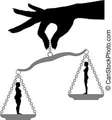 verlust, frau, anfall, gewicht, dicker , skala, diät, halten