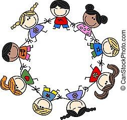 Vermischte ethnische Kinderfreundschaft.