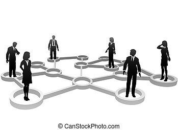 Vernetzte Geschäftsleute Silhouetten in Netzwerkknoten.