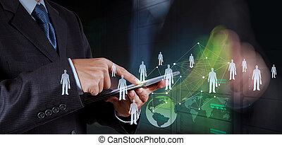 vernetzung, arbeitende , weisen, modern, edv, geschäftsmann, neu , sozial