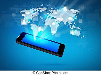 vernetzung, bewegliche kommunikation, modern, telefon, sozial, technologie
