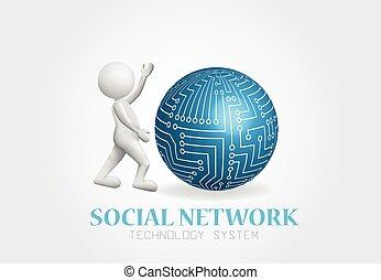 vernetzung, global, person, logo, kleine welt, 3d