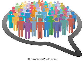 vernetzung, menschenmasse, medien, vortrag halten , sozial, blase