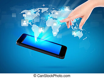 vernetzung, weisen, bewegliche kommunikation, modern, hand, telefon, besitz, sozial, technologie