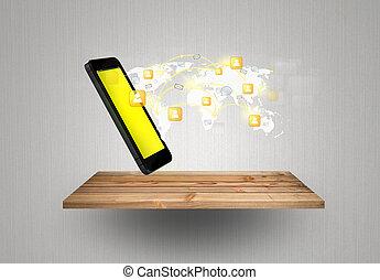 vernetzung, weisen, bewegliche kommunikation, modern, telefon, holz, regal, technologie, sozial