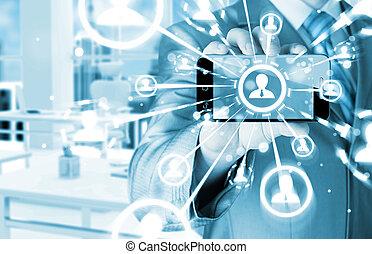 vernetzung, weisen, hand, telefon, besitz, sozial