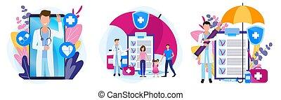 verordnung, gesundheit, theme., satz, familie, medicines., illustrationen, insurance., medizin