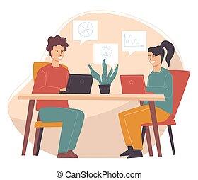 versammlung, arbeit kollegen, geschaeftswelt, oder, partner