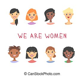 verschieden, satz, personengruppe, notieren, races., text., stil, abbildung, amerikanische , vektor, asiatische charaktere, afrikanisch, kaukasier, karikatur, frauen