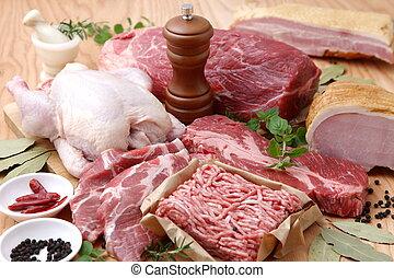 Verschiedene frisches Fleisch.