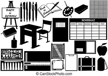 Verschiedene Gegenstände für die Schule