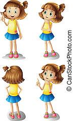 Verschiedene Stimmungen eines jungen Mädchens