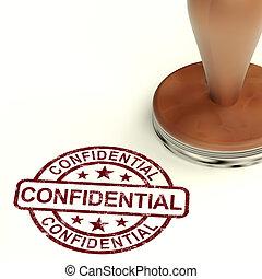 Vertrauliche Briefmarke, die private Korrespondenz oder Dokumente zeigt