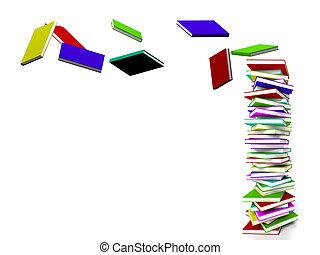 vertritt, fliegendes, einige, buecher, lernen, bildung, stapel