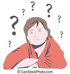 Verwirrte Frau mit Fragen