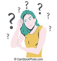 Verwirrte Frau mit vielen Fragen.