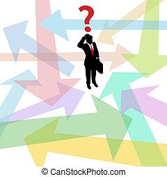 Verwirrte Geschäftsmänner hinterfragen Pfeile