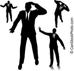 Verwirrter Geschäftsmann Silhouette