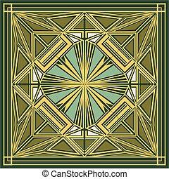 verzierung, quadrat, art deco
