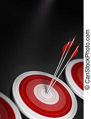 Viele blaue Ziele und drei Pfeile erreichen das Zentrum des ersten, Bild mit verschwommenem Effekt, A4 vertikale Format. Zielmarkt, strategisches Marketing oder unternehmerisches Wettbewerbsvorteilkonzept.