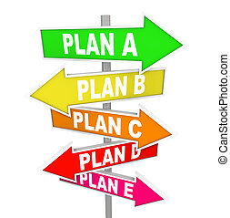 Viele Pläne planen, den Strategieplan mit B-C-Schildern zu überdenken