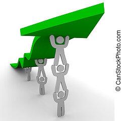 Viele schieben grüne Pfeile hoch