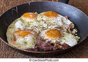vier, gebratene eier, pfanne
