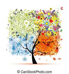 Vier Jahreszeiten - Frühling, Sommer, Herbst, Winter. Der Kunstbaum ist schön für dein Design